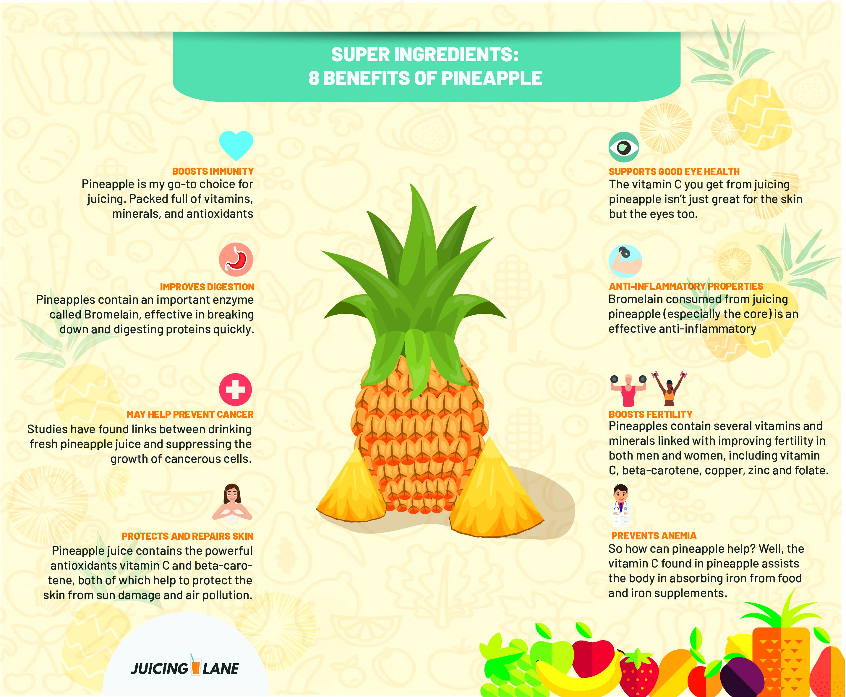 Super Ingredients: 8 Benefits Of Juicing Pineapple