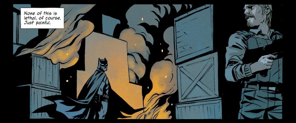 Batman stalks a criminal.