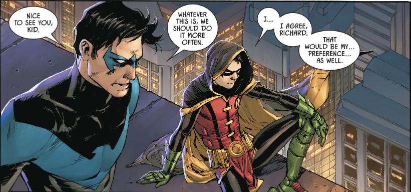 Dick Grayson and Damian Wayne exchange pleasantries.